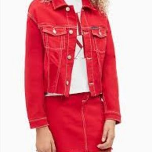 Rvca red jean jacket size small